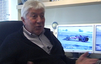 Picture: Herbie Blash being interviewed for 'Grand Prix Icon : Lotus 72'